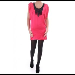 Ted Baker EMMAT Pink Silk Dress Beaded Neckline